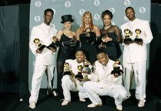 The women of Salt-N-Pepa pose with the group Boyz II Men with their Grammys at the 37th annual Grammy Awards in Los Angeles, Ca., Wednesday, March 1, 1995. Salt-N-Pepa won for rap duo or group performance, and Boys II Men won for best rhythm and blues album and for best duo or vocal performance.  The trio, from left, are, Cheryl James, Sandy Denton and Dede Roper.  The members of Boyz II Men, from left, are, Shawn Stockman, Nate Morris, Wanya Morris and Michael S. McCary.  (AP Photo/Mark J…