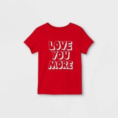 Toddler Boys' Valentine's Day Love You More Graphic Short Sleeve T-Shirt - Cat & Jack™ Red 4T : Target Boys Closet, Valentine Day Love, Valentines, Zip Up Hoodies, Cozy Fashion, Cat And Jack, Light Wash Jeans, Love You More, Boys T Shirts