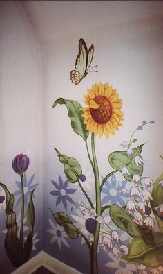 Art & Soul Productions can bring your child's room or nursery alive with whimsical hand-painted borders, fanciful skies, or thematic murals of your child's favorite story or fairy tale. Wall Painting Flowers, Simple Wall Paintings, Wall Painting Decor, Mural Art, Wall Murals, Sunflower Room, Garden Mural, Flower Mural, Fence Art