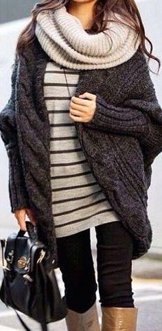 #winter #fashion stripes + knit
