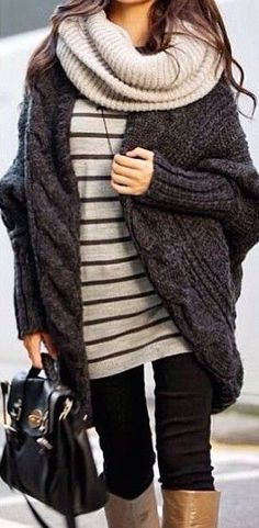 #winter #fashion stripes + knit