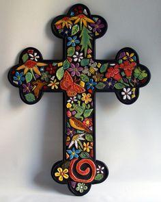 """Garden Cross"" art tile mosaic by Carol Hegedus"