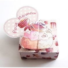 Free sweets gift box. Click on link for free template. http://dans-mon-bocal.over-blog.com/article-une-jolie-boite-pour-des-mamans-a-croquer-105728698.html
