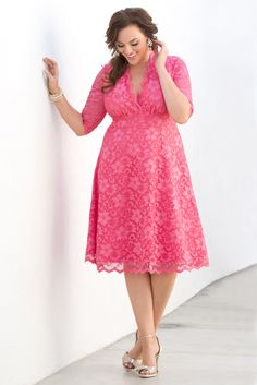 Fall in love this Valentine's Day with our plus size Mademoiselle Lace Dress.  Browse our entire made in the USA collection online at www.kiyonna.com.  #KiyonnaPlusYou