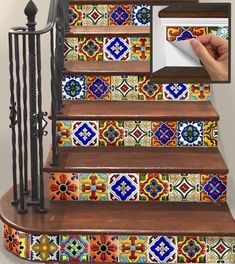 Stair Riser Vinyl Strips Removable Sticker Peel & Stick : Spanish Mexican Decorativa-m Tile Stairs, Basement Stairs, Mosaic Stairs, Mexican Home Decor, Mexican Style Homes, Stair Risers, Tile Design, Stairways, Tiles
