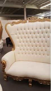 Isaiah Luxury Furniture Victorian High Back Throne Chair Love Seat Room for Two (White & Gold Leather)