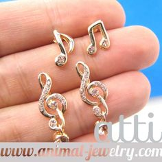 Musical Notes Shape Stud Earrings 4 Piece Set in Gold with Rhinestones