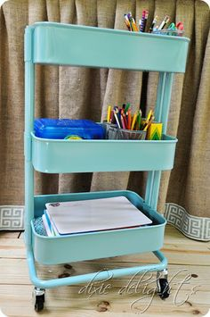 Homework Cart from IKEA.  Roll it into the coat closet and out of the way when homework is done!