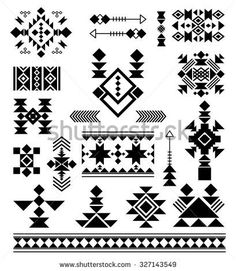 Vector patterns of American Indians Aztec tribal ethnic elements. Vector patterns of American Indians Native American Patterns, Native American Design, Native Design, Indian Patterns, Aztec Patterns, Aztec Designs, Geometric Designs, Vector Pattern, Pattern Design