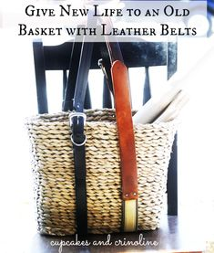 Use old leather belts with baskets. Hmm... what else could belts be used for?