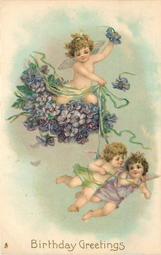 BIRTHDAY GREETINGS  two cherubs on bunch of violets, two fly below