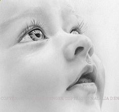 Drawing Pencil Portraits - Custom Portrait Children Baby Portrait Face Eyes by NataliaDENGER, $85.00 Discover The Secrets Of Drawing Realistic Pencil Portraits