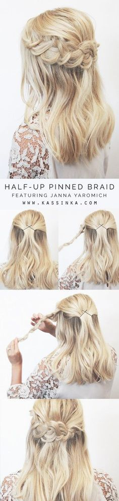 Half-up Pinned Braid Hair Tutorial For Shorter Hair (Hair Tutorial Ponytail) Wedding Hairstyles For Long Hair, Down Hairstyles, Trendy Hairstyles, Braided Hairstyles, Curly Haircuts, Hair Wedding, Layered Hairstyles, Black Hairstyles, Girl Hairstyles