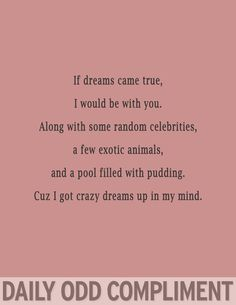 If dreams came true, I would be with you.  Along with some random celebrities, a few exotic animals, and a pool filled with pudding.  Cuz I got crazy dreams up in my mind.
