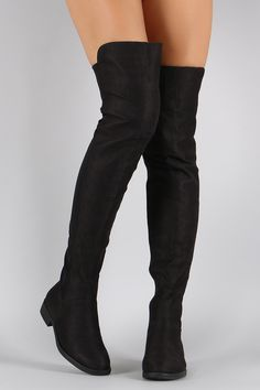 Shop Suede Round Toe Riding Over-The-Knee Boots. This flat over-the-knee boot features a round toe, block heel, and side zipper closure. High Heel Boots, Heeled Boots, Jordan Outfits For Girls, Cosy Outfit, Cool Boots, New Shoes, Cute Shoes, Over The Knee Boots, Fashion Boots