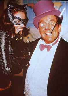 Behind the Scenes photo of 'Catwoman' and 'The Penguin' from 'Batman TV Series' (1966–1968)
