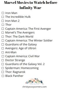 Marvel Movies to Watch before Infinity War with a Printable Checklist #InfinityWar #marvel #printables #printable #movies - Christy's Cozy Corners