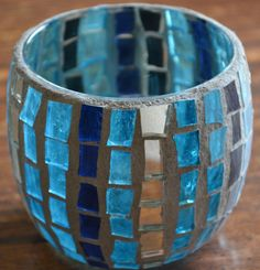 Items similar to Blue mosaic candle holder on Etsy Mosaic Stepping Stones, Pebble Mosaic, Blue Mosaic, Mosaic Art, Mosaic Glass, Stained Glass, Mosaic Crafts, Mosaic Projects, Mosaic Designs
