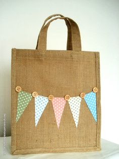 Medium Jute Bag with Polka Dot Bunting Lunch by BerryNiceCushions, £8.00