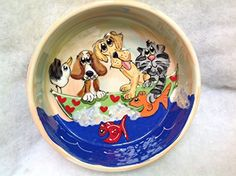 Pet Bowl 6 Dog Bowl for Food or Water Personalized at no Charge Signed by Artist Debby Carman >>> Check out this great product.