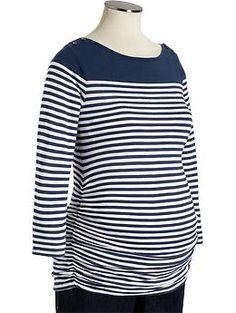 Maternity Striped Boat-Neck Tops