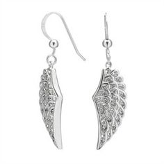 Studded with round CZ stones, this elegant pair of dainty wings will show people just how angelic you are! Crafted from rhodium electroplated .925 sterling silver, these earrings gleam like platinum. Each wing is approximately 10 mm wide by 26 mm long, and dangles from a hook backing for a total length of 40 mm.