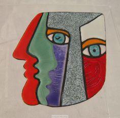 Anita Silverstein Red, Gray, Green Enamel Faces Brooch
