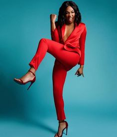 is slaying is this red suit like . In her own words One of my favourite female comedians. You go girl. Black Female Comedians, Tiffany Haddish, Red Suit, Shooting Photo, How To Pose, Professional Women, Photoshoot Inspiration, Lab, Beautiful Black Women