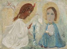 """ირაკლი ფარჯიანი """"ხარება""""  ტილო, ზეთი, 40X54სმ. 1987 Irakli Parjiani """" Annunciation""""  Oil on canvas, 40X54cm. 1987"""