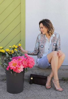 H&M Jacquard Blazer | Must Try Spring Double-Denim | Front Roe by Louise Roe