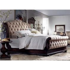 Hooker Furniture Rhapsody California King Size Tufted Sleigh Bed with Exposed Wood Frame