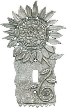 Sunflower in Bloom Light Switch Plates, Outlet Covers, Wallplates Switch Plate Covers, Light Switch Plates, Light Switch Covers, Paper Clay, Clay Art, Metal Clay, Metal Art, Pewter Art, Metal Embossing