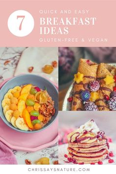 Tired of eating the same thing for breakfast? Or you simply don't have time for making breakfast? Then this post is just for you. Here, I'm sharing my top favorite breakfast recipe ideas, that are simple, quick, and very healthy. The recipes are gluten-free, vegan, dairy-free, and allergy-free. #recipes / Breakfast ideas. Simple gluten-free recipe ideas. Breakfast inspiration. Vegan simple eating. Healthy and nutritious breakfast.