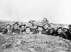 A portrait of a smiling group of Gordon Highlanders in a reserve trench, Bazentin-le-Petit, November 1916. Scottish in ww1: A portrait of a smiling group of Gordon Highlanders in a reserve trench, Bazentin-le-Petit, November 1916.