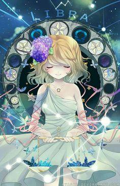 Libra, constellation, anime girl, cute; Zodiac Sign