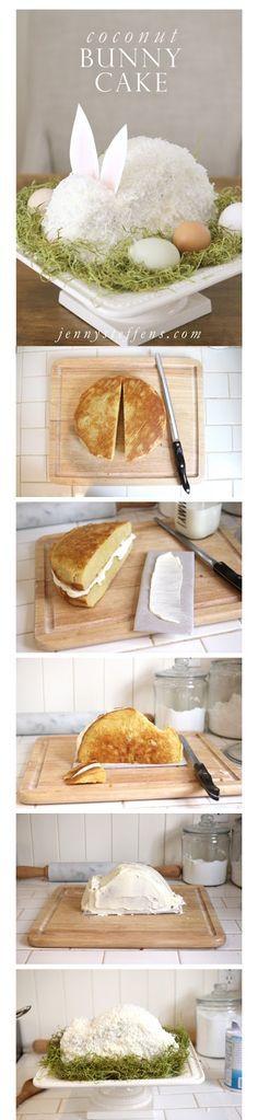 Gâteau lapin à la noix de coco pour Pâques! Joli! (en anglais)