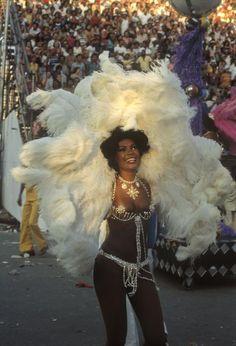 Rio de Janeiro. 1980. Carnival. Samba school dancer.