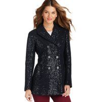 """Sequin Boiled Wool Blend Pea Coat - We're obsessed with the breathtaking charm of this sequined pea coat, in our luxe boiled wool blend—it makes everyday simply sparkling. Notched lapel. Long sleeves. Double breasted styling with tonal buttons. Button details at flap pockets, cuffs and tab at back waist. Vented back hem. Lined. 30"""" long."""