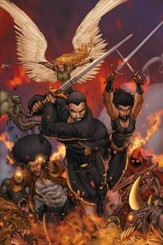 Banks' Vampire Huntress, Vol. 1 The Neterus and worldwide Guardian teams have defeated Satan's top demon, The Thirteenth, and have driven back the forces of evil in the first battle of the. Black Anime Characters, Superhero Characters, Comic Book Characters, Comic Books Art, Comic Art, Character Art, Character Design, Black Art Pictures, Daily Pictures