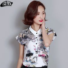 >> Click to Buy << Women Blouses 2016 Women Tops Short Sleeve Peter Collar Ink Printed Chiffon Blouse Shirt Vintage Lady Shirts Womens Summer Tops #Affiliate