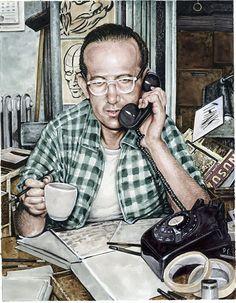 Un ritratto di Steve Ditko a opera dell'illustratore Drew Friedman. Old Comics, Marvel Dc Comics, Jewish Comedians, Avengers Actors, Art Spiegelman, Spiderman, Batman, Shel Silverstein, Steve Ditko