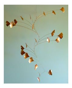 J F Jones. Ginko Leaf Mobile in copper
