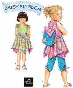 DAISY KINGDOM Dress Sewing Pattern - Girls Dresses Top Capri Pants & Backpack