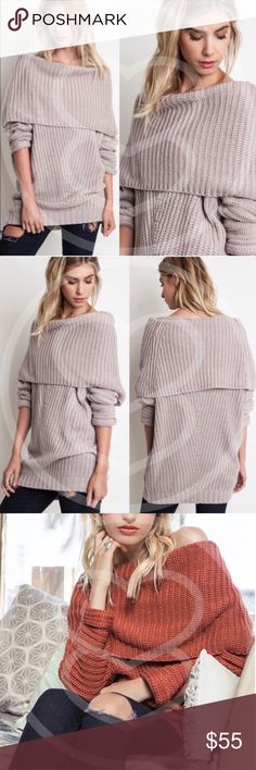 SYDNEY sweater top - MUAVE Chunky sweater top. can be worn off shoulder  AVAILABLE IN RUST AND MUAVE   !!!NO TRADE, PRICE FIRM!!! Bellanblue Tops