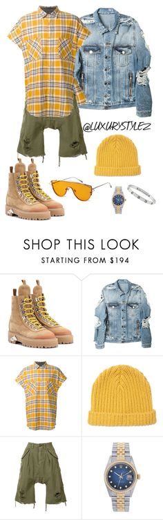 """LUXURYSTYLEZ MENS FASION ,STREET FASHION , FALL FASHION"" by luxurystylez on Polyvore featuring Off-White, Gentle Monster, Balmain, Fear of God, Marni, R13, Rolex, Cartier, men's fashion and menswear"