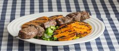 Grilled Beef Skewers with Sweet Potato Grilled Skewers, Beef Skewers, Grilled Beef, Sweet Potato, Steak, Grilling, Potatoes, King, Awesome