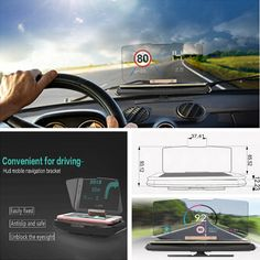 Universal Mobile Phone Support Navigation Mount Car GPS HUD Head Up Display New #AiEasy