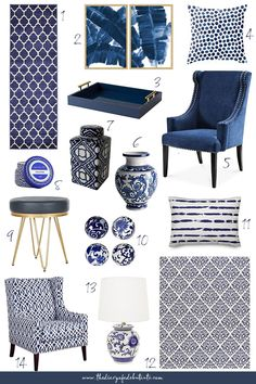 Affordable Home Decor: Blue and White Home Accessories for Spring Need affordable home decor ideas for spring? From blue and white rugs to blue porcelain vases and ginger jars, Stephanie from the affordable fashion a. Blue And White Rug, Blue And White Living Room, White Rugs, Blue Rugs, Blue Living Room Decor, Winter Home Decor, Blue Home Decor, White Decor, Affordable Home Decor