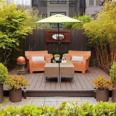 Step Up - Use all-weather deck material to create an elevated patio. Large containers with lush plantings placed at the corners visually connect the patio to its surroundings. Consider matching the containers to the patio material for a unified look. Small Outdoor Spaces, Outdoor Rooms, Outdoor Gardens, Outdoor Living, Outdoor Decor, Outdoor Seating, Outdoor Furniture, Outdoor Patios, Wicker Furniture