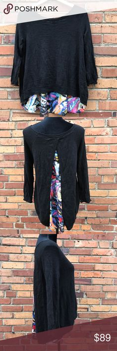Anthro MOTH Black French Quarter SplitBack Sweater Be flirty and flowy in this cute floral Moth Sweater. With two layers, and a split back design, it will flatter your shape and make you look effortlessly chic. The super cute tulip back is right in trend and adds personality to your look. Preowned from a smoke free home, in excellent used condition. Check out the rest of my closet to create your own custom bundle. Anthropologie Sweaters Crew & Scoop Necks